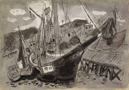 Tibor Gergely, 'Sailboats at Dock by Famed Childrens Book Illustrator Tibor Gergely', Mid-20th Century