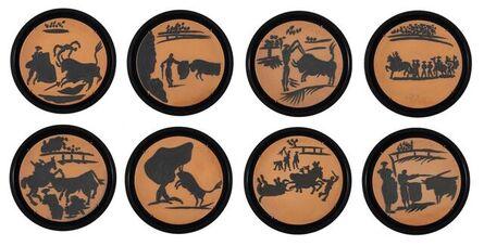 Pablo Picasso, 'Corrida Scenes of 8 pieces : Paseo, Pase de cape, Picador, Banderilleros, Pase de muleta, Cogida, Estocado & Arrastro', 1959