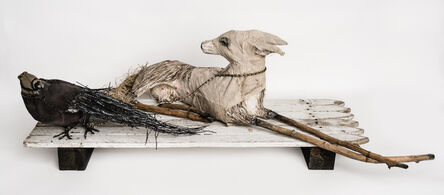 Elizabeth Jordan, 'Canine and crow sculpture on fence: 'Philosophy Of The World'', 2019