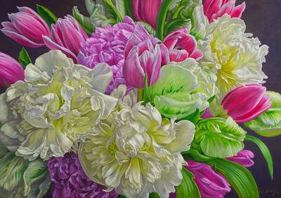 Fiona Craig, 'White Peonies with Tulips'