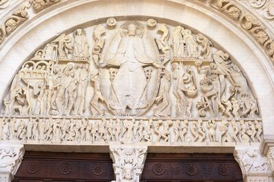 Gislebertus, 'Cathedral (originally Abbey Church) of Saint-Lazare, Autun: Last Judgment, tympanum on west portal'