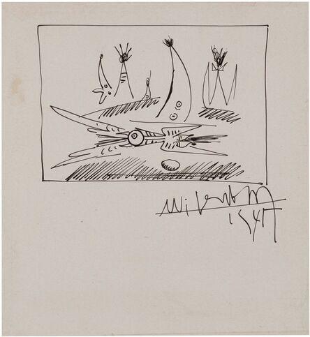Wifredo Lam, 'Oiseau avec son oeuf', 1945