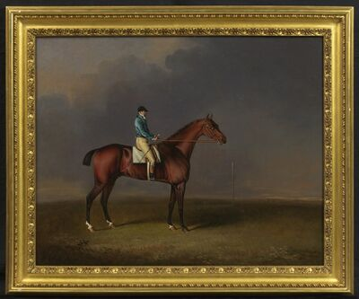 Henry Bernard Chalon, 'Sir David, a Bay Racehorse owned by H. R. H. The Prince of Wales, with Samuel Chisney up, on Newmarket Heath', 1807