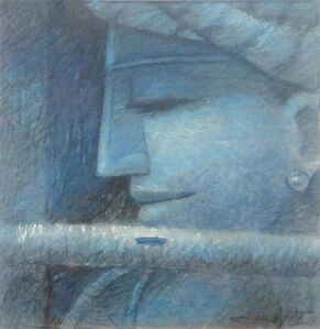 "Subrata Das, 'Krishna, Pastel on Paper, Blue colours by Contemporary Artist ""In Stock""', 2010-2020"