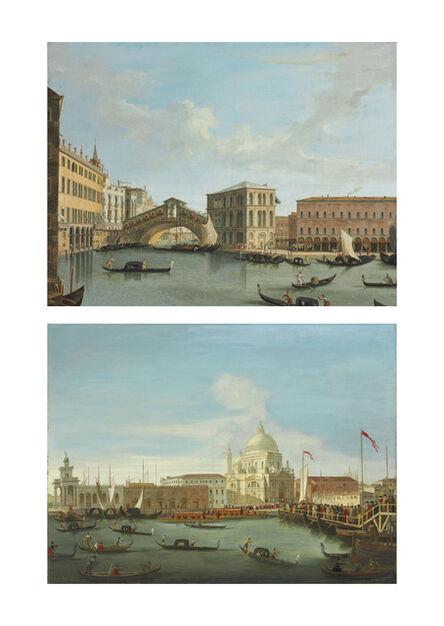 Vincenzo Chilone, 'View of the Rialto Bridge, Venice; and Procession in front of Santa Maria della Salute, Venice'