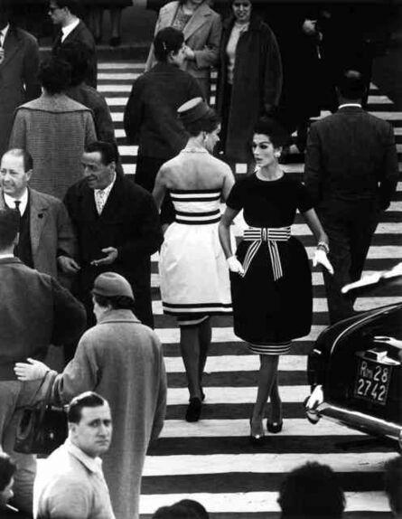 William Klein, 'Simone Daillencourt + Nina Devos in Capucci fashion, Piazza di Spagna, Rome', 1960