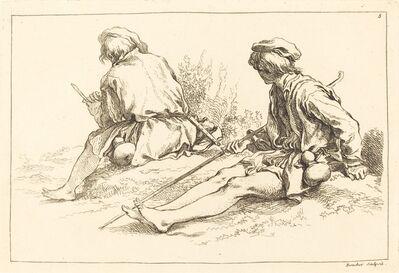 François Boucher after Abraham Bloemaert, 'Seated Shepherd Boys', published 1735