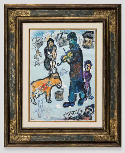 Marc Chagall, 'Violinist in the snowy village', 1977