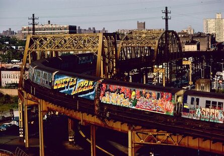 Martha Cooper, 'Two Whole Cars in Straight Letters and Wild Style by Duster Lizzie, Bronx, NY', 1982
