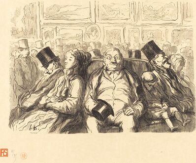 Etienne after Honoré Daumier, 'Exposition des Beaux-Arts - Dans le salon carre - Un Instant de repos', 1868
