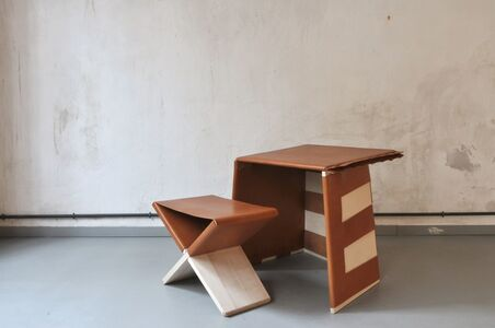 """Eric Benqué, 'Small desk and stool, """"Traits d'union"""" collection', 2012"""