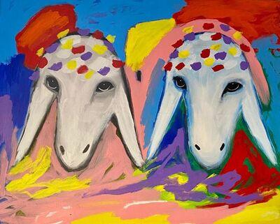 Menashe Kadishman, 'Two Sheep Heads', 1980-1990
