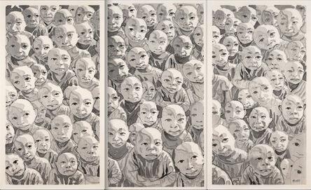 Fang Lijun 方力钧, 'Untitled (Crowd Triptych)', 2009