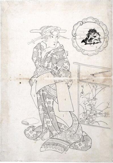Keisai Eisen, 'Preparatory Drawing for print 'Beauties of Five Islands: Chikubu Island'', ca. late 1820s
