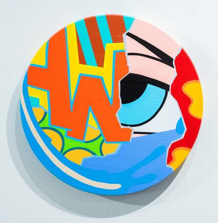"CRASH (John ""Crash"" Matos), 'Untitled Wood Circle (red letters)', 2020"