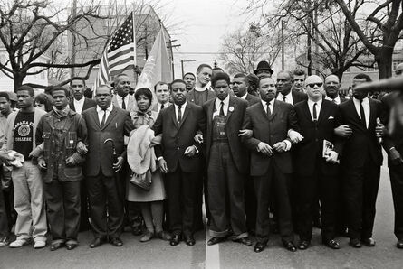 Steve Schapiro, 'Martin Luther King Jr. and Group Enter Montgomery, Black Suits', 1965