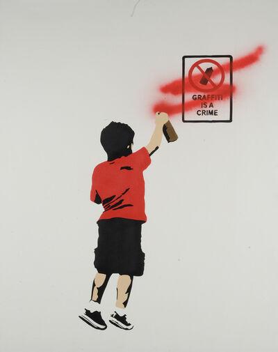 "Plastic Jesus, '""Graffiti is a Crime"" - RED stencil acrylic on canvas', 2018"
