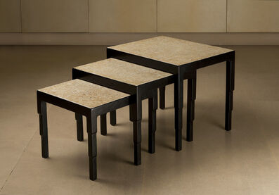 Jean Dunand, 'Set of three nesting tables in black lacquer and eggshell', ca. 1925