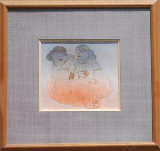Ramananda Bandyopadhyay, 'Saheli, figurative, Mixed Media in brown, orange, red, white by student of Nandalal Bose', 2005
