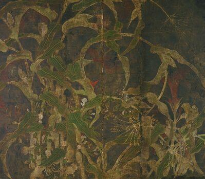 Tawaraya Sōtatsu, 'Coxcombs, Maize, and Morning glories. Sōtatsu school, Inen seal.', 1568-1615