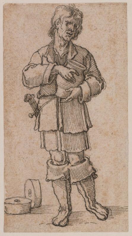 Sebald Beham, 'A Young Peasant Holding a Jar', 1520