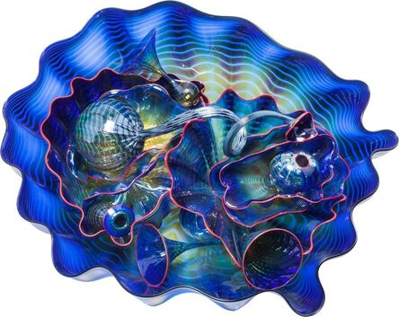 Dale Chihuly, 'Fourteen-Piece Cobalt Seaform Group with Red Lip Wrap', 1994