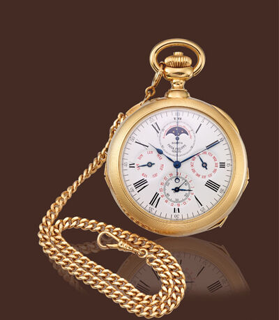 Patek Philippe, 'Yellow gold grand complication pocket watch split seconds minute repeater clockwatch'