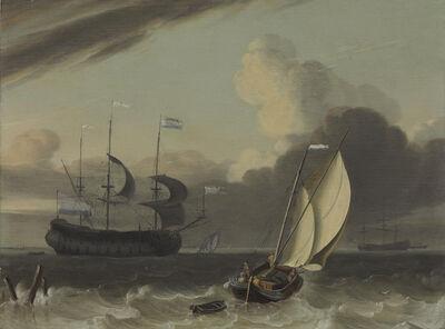 Jan Claesz. Rietschoof, 'A Dutch merchantman and a spritsail barge in a breeze'