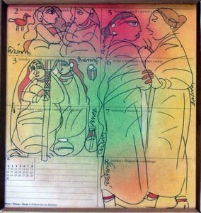 Ramananda Bandyopadhyay, 'Gossiping woman, Mixed Media in green, red, yellow by Indian Artist Ramanando Bandopadhayay, student of Nandalal Bose', 2005