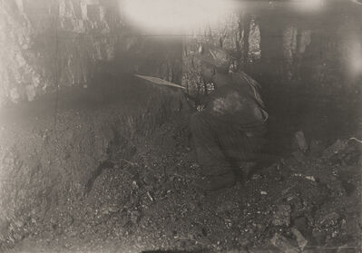 Lewis Wickes Hine, 'Miner Picking Coal Out of Narrow Seam, Brown Mine, Brown, West Virginia', 1908