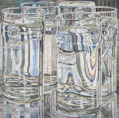 Janet Fish, 'Five tall glasses, afternoon', ca. 1975