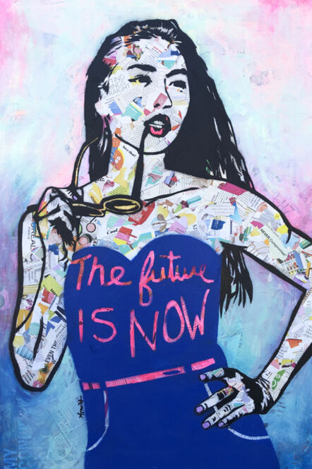 Amy Smith, 'The Future is Now - Contemporary Female Pop Portrait - (Blue + Pink + Black + White)', 2021