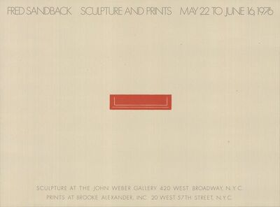 Fred Sandback, 'Sculpture and Prints 1976', 1976