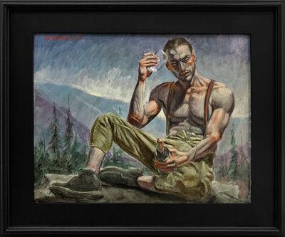 Mark Beard, '[Bruce Sargeant (1898-1938)] Man Holding Glass and Bottle', n.d.