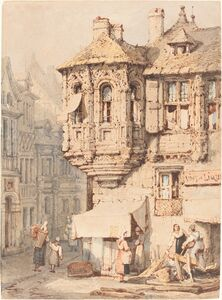 Samuel Prout, 'French Street Scene with a Medieval Turret'