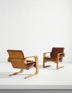 "Kem Weber, 'Pair of ""Air Line"" armchairs from Disney Studios, Burbank, California', designed 1934"