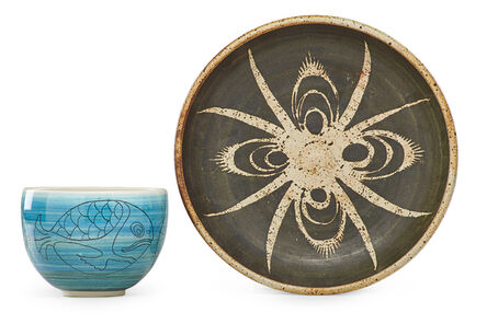 Fred Carlton Ball, 'Small bowl with fish and large bowl with abstract decoration, USA'