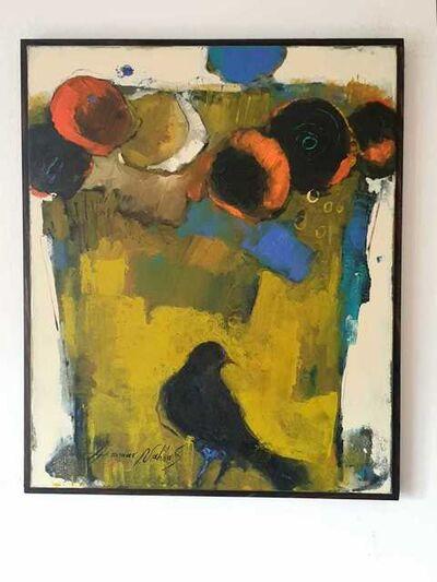 Ammar Alnahhas, 'Blackbird and flower vase with orange flowers', 2021