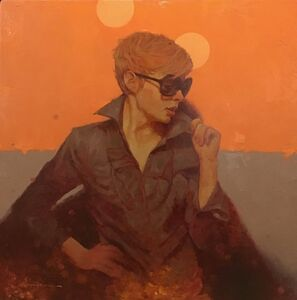 "Joseph Lorusso, '""Shades"" oil painting of a woman in sunglasses with an orange background', 2010-2019"