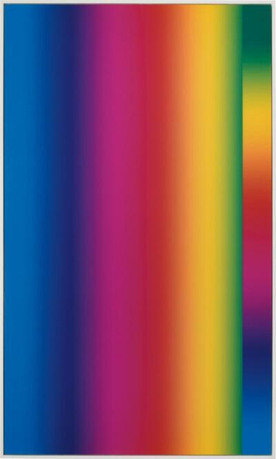 "Cory Arcangel, 'Photoshop CS: 84 by 50 inches, 300 DPI, RGB, square pixels, default gradient ""Spectrum"", mousedown y=2000 x=1000, mouseup y=2000 x=14000; tool ""Wand"", select y=14000 x=8720, tolerance=40, contiguous= off; default gradient ""Spectrum"", mousedown y=24000 x=1', 2014"
