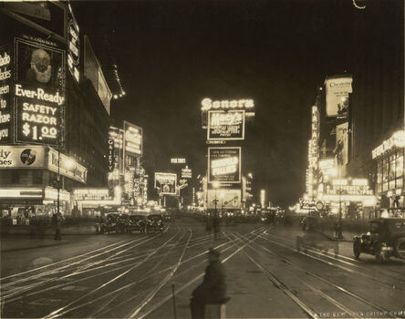 New York Edison Co. Photographic Bureau, 'A Night View of Broadway looking North from 45th Street', 1923