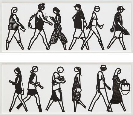 Julian Opie, 'Walking in Melbourne 2; and Walking in Melbourne 4, from Walking in Melbourne series', 2018