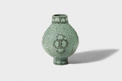 Gwang-yeol Yu, 'Celadon Octagonal Bottle  with Inlaid Cloud, Peony  and Scrolled Design', 2006