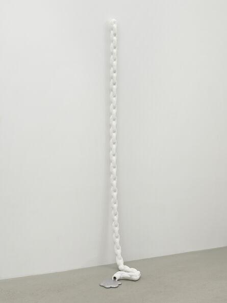 "Sam Ekwurtzel, '3/8"" chain, draped, partially drained', 2018"