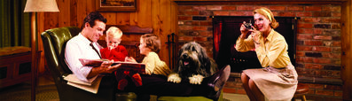 Norm Kerr, 'Colorama 252, Family by fireplace', Displayed 3/15/65–5/5/65