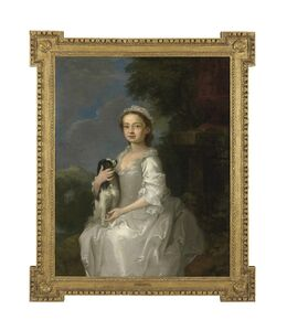 Circle of William Hogarth, 'Portrait of a young girl, half-length, seated, in a white dress, a King Charles spaniel on her lap, in an ornamental park, with a hill-top castle beyond', ca. 1750
