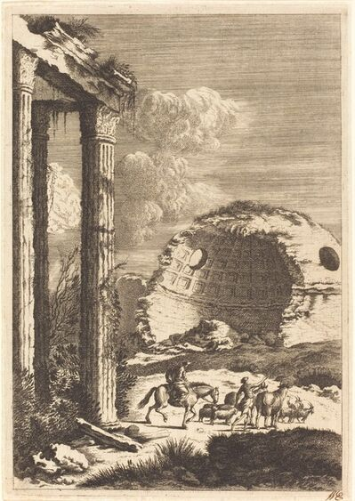 Bernhard Zaech after Jonas Umbach, 'Shepherds Traveling past a Ruined Rotunda', ca. 1650