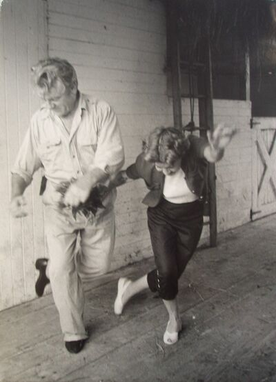 Eve Arnold, 'James Cagney and wife Willy hoofing in their barn, Martha's Vineyard, Massachusetts', 1955