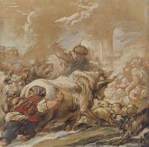 Jean-Baptiste Deshays, 'Herdsmen Driving Cattle across a Stream', ca. 1760