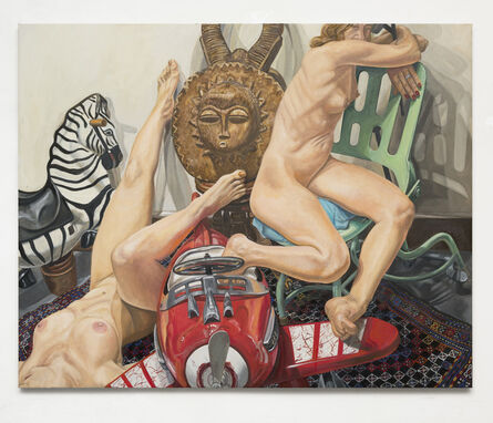 Philip Pearlstein, 'Two Models, Kiddie Car Airplane, Zebra and African Mask', 2017